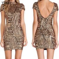 Ysmarket 2018 جديد مصمم أزياء النساء فساتين حزب clubwear مثير أنيقة الذهب مطرزة قصيرة الأكمام عارية الذراعين اللباس EXYN195
