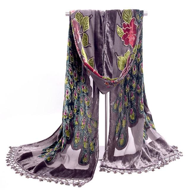 Cinza Moda tradição Oriental Velvet Silk Frisada Bordados Feitos À Mão das Mulheres Xaile Do Envoltório Do Lenço Cachecóis Peafowl Frete Grátis