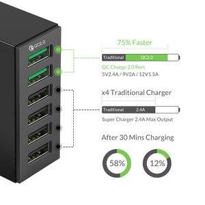 Image 2 - ORICO QC 2.0 Bộ Sạc Với 6 Cổng Sạc USB Thông Minh Để Bàn 5V10A 50W Max Đầu Ra Cho Điện Thoại Di Động điện Thoại Sạc USB