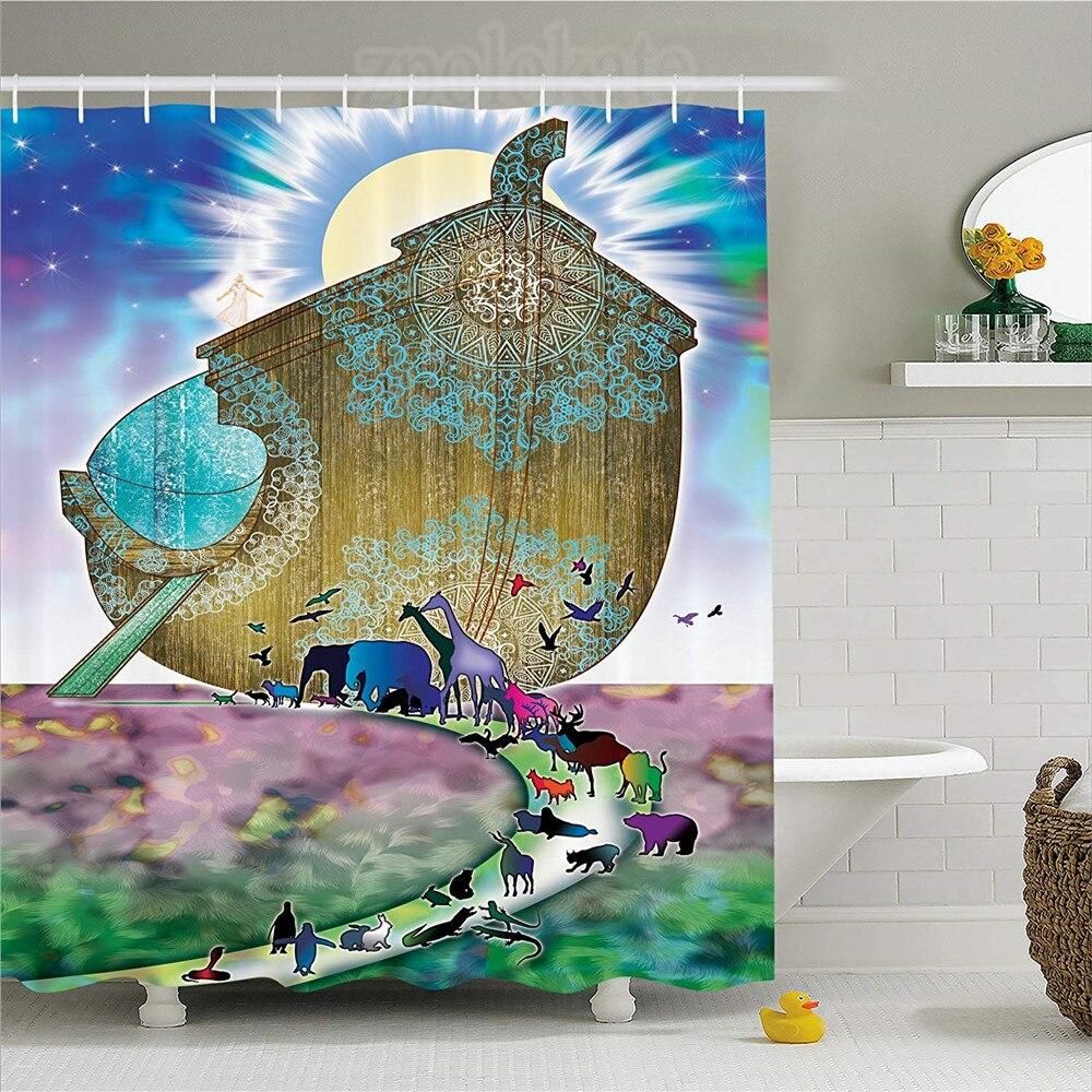 US $12 16 36% OFF|Noah's Ark Decor Shower Curtain Animals of the World  Bible Story on Night Sea Mandala Patterns Religious Art Fabric Bathroom  D-in
