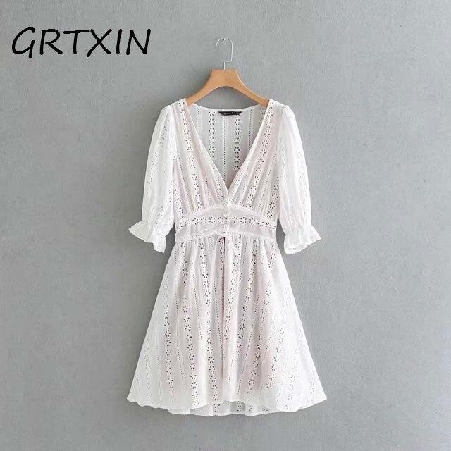 Сексуальное кружевное платье с v образным вырезом, женское осеннее платье с коротким рукавом, женское повседневное белое платье на пуговицах, vestido