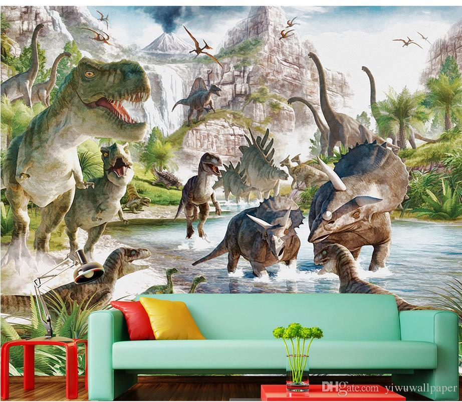 Us 711 55 Offmural 3d Wallpaper 3d Wall Papers For Tv Backdrop Dinosaur World Background Wall Murals Decorative Painting In Wallpapers From Home
