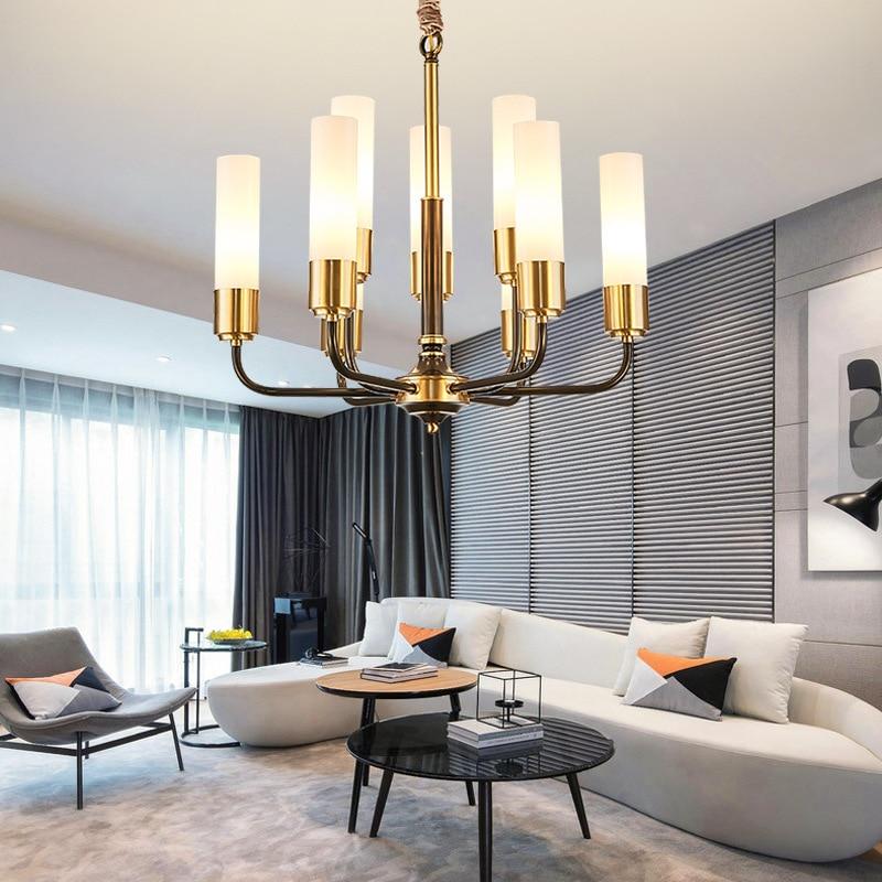 Image 2 - LED luxury Copper chandelier lighting living room pendant lamps American dining room fixtures Nordic bedroom hanging lightsChandeliers   -