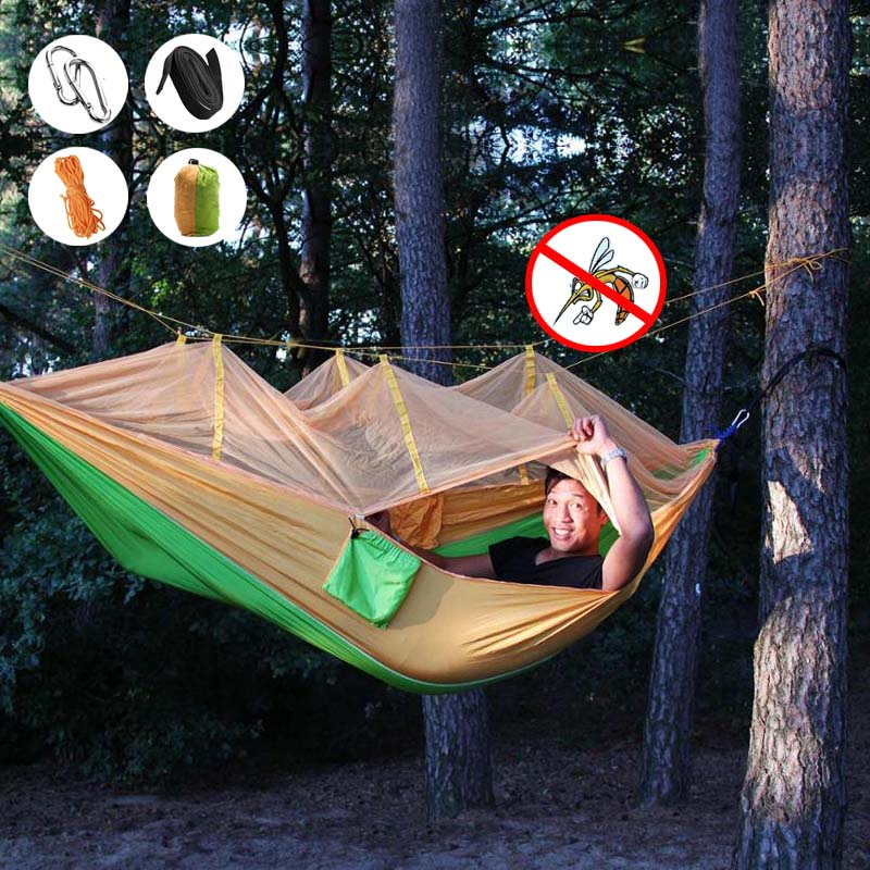 260 X 140cm Double Person Hammock Camouflage Swing Hanging Nylon Sleeping Bed Camping Lazy Bag Sleeping Bags With Mosquito Net Sleeping Bags Camping & Hiking