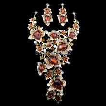 Luxury statement Necklace earrings set Elegant Flower Design Topaz Color  Rhinestone Bridal Fashion Party Jewelry set