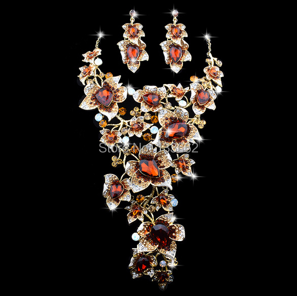 Luxury statement Necklace earrings set Elegant Flower Design brown Color Rhinestone Bridal Fashion Party Jewelry set