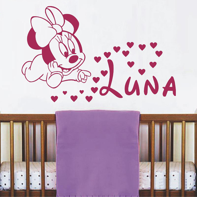 Cute Minnie Mouse With Custom Personalized Baby Name Vinyl Wall Sticker For Baby Kids Bedroom Sweet Decor Art Murals A682