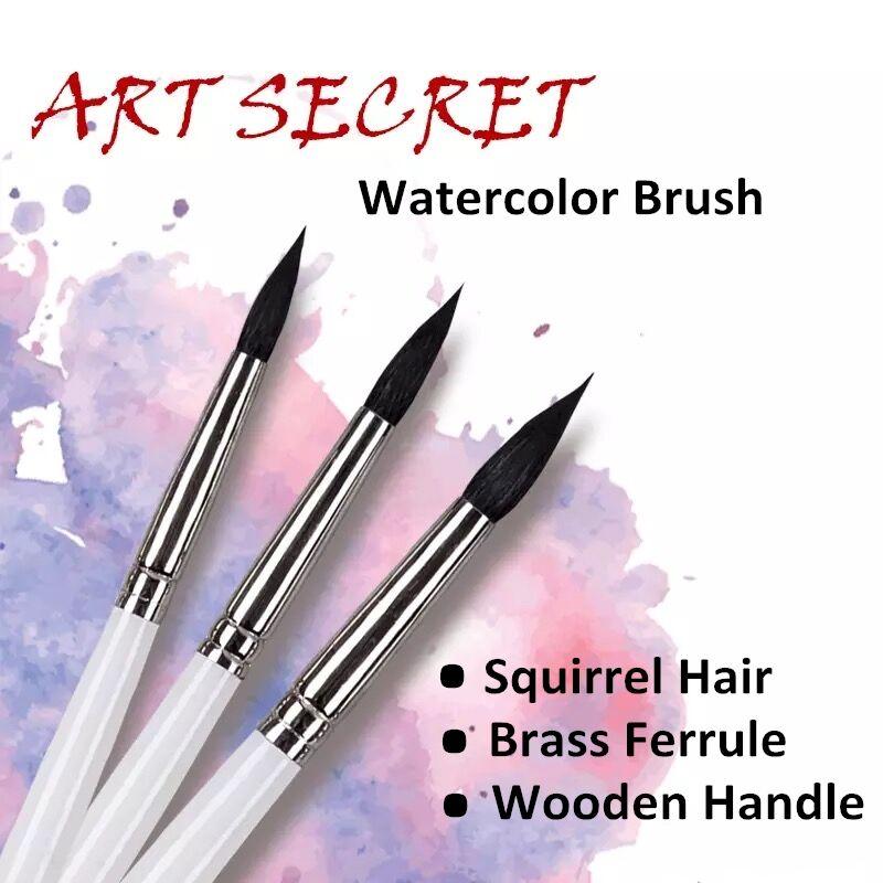 25RQ высококачественные беличьи волосы с деревянной ручкой, латунные наконечники, кисти для рисования, художественное искусство, кисть для р...