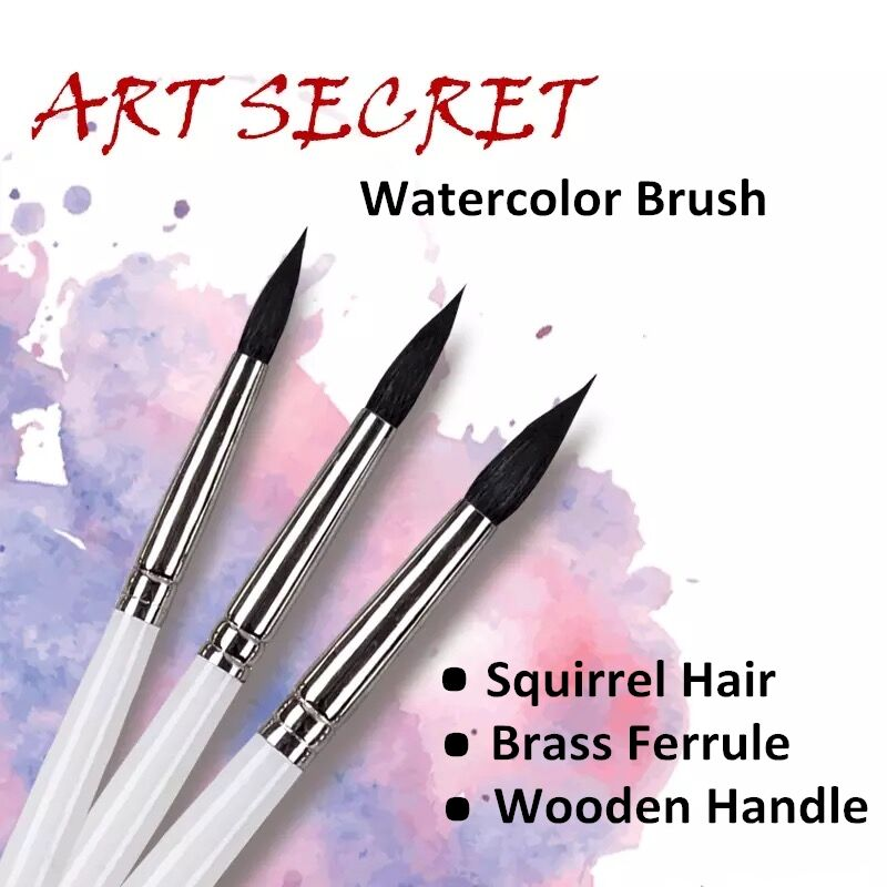 rq 25 - 25RQ high quality squirrel hair wooden handle brass ferrule paint brushes artistic art painting watercolor brush for drawing