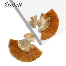 Fashion Irregular Leaves Tassel Earrings Big Sector Gold Color Ribbon Drop Earrings For Women Pendientes Mujer gold color with green gray pink tassel drop earrings