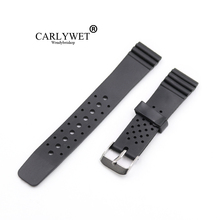 CARLYWET 20mm(18mm buckle)Man Lady Black Silicone Rubber Straight  End Wrist watch Band Strap Belt Silver Polished Buckle