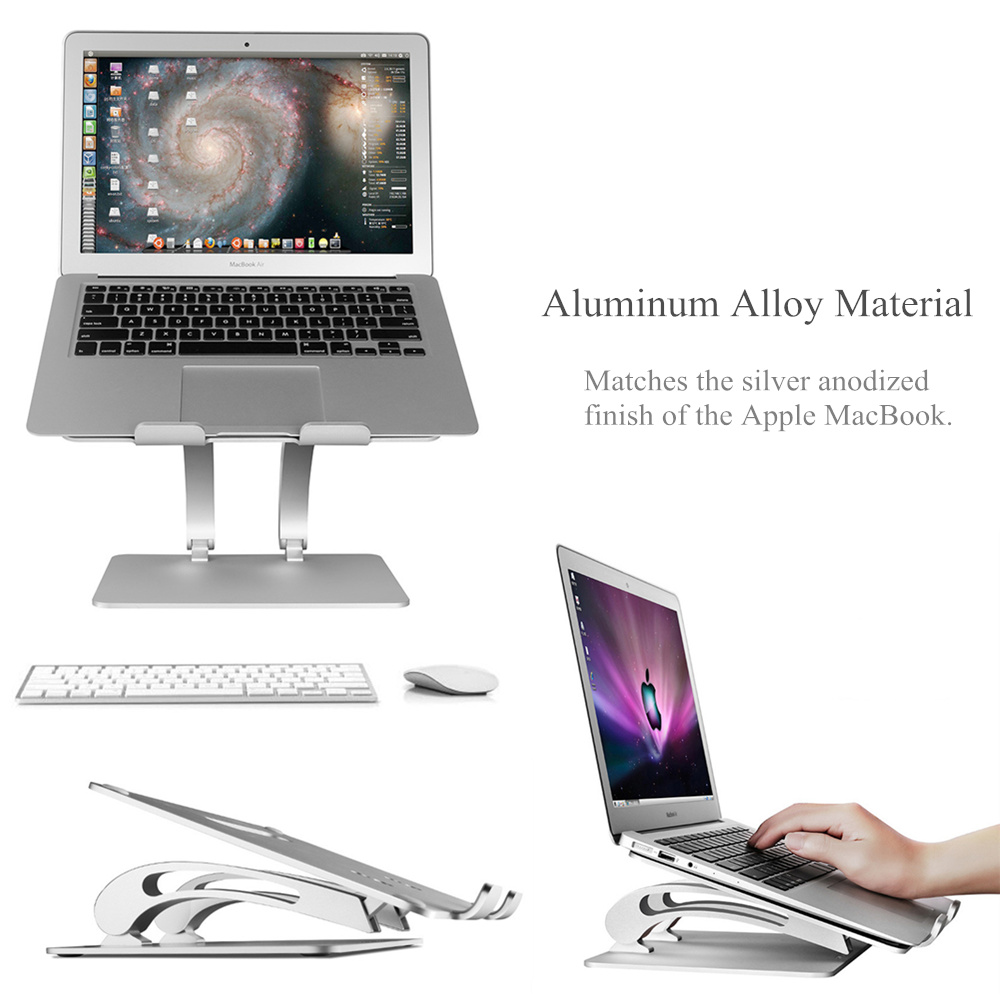 Laptop Stand Notebook Computer Cooling Base PC Increase Support Aluminum Alloy for MacBook Pro Silver