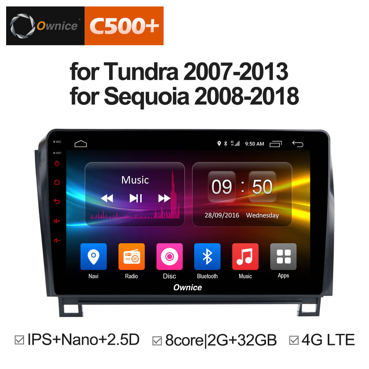 Ownice C500 + G10 Android 8.1 8 Core Voiture DVD GPS Pour Toyota Tundra 2007-2013 Sequoia 2008- 2018 Stéréo Radio Audio 4g OBD DVR