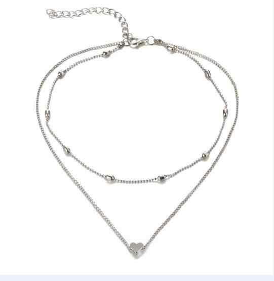 Nouveau mode nouveau Punk minimaliste infini chance 8 feuille croix cadre coeur cristal imitation perle pendentifs colliers femmes clavicule