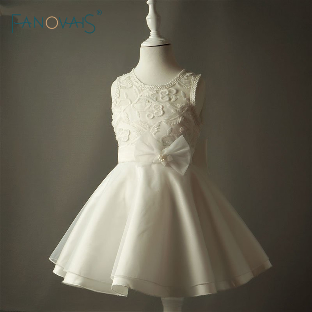 Pretty White Girls Dress For Party Flower girl Princess Dresses Kids First Communion Dresses for Girls Prom Dress STF1008