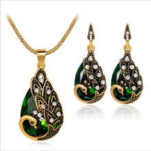 Necklace set Women for Elegant Retro Water Drop Peacock Crystal Pendant Necklace Earrings Jewelry Sets visuteria mujeres A737 a suit of gorgeous faux crystal water drop necklace and earrings for women