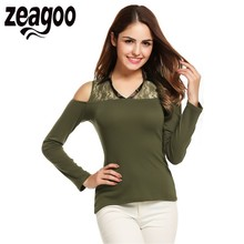 Zeagoo Slim T-shirt Women V-Neck Off Shoulder Lace Patchwork Long Sleeve Slim Fit Tshirt Top Spring Autumn Sexy Solid T Shirt