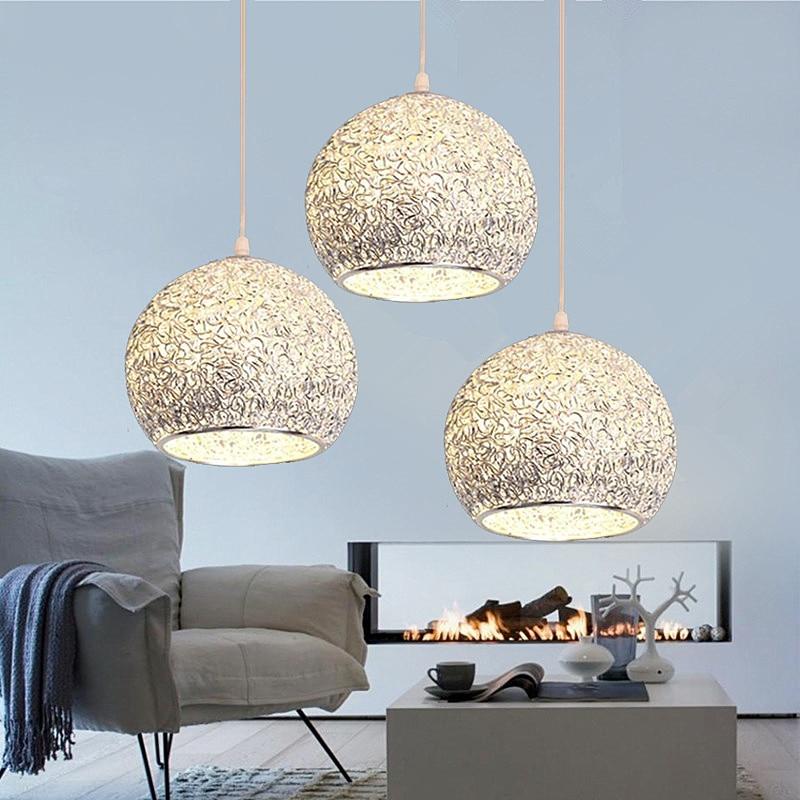 Kitchen Island Pendant Light Bar Modern Lights Bedroom Aluminum Lighting Office Silver Ceiling Lamp Bulb Include 1pcs Lamp