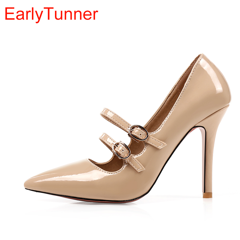 f7412b49657d Brand New Elegant Black Apricot Red Women Glossy Formal Pumps High Heels  Lady Nude Shoes EK010 Plus Big Size Small 10 47 30