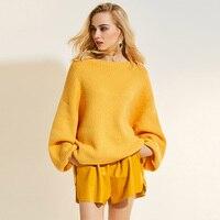 Sisjuly Woman Sweater Plain Lantern Sleeve Pullovers Fashion Knitwear Spring Autumn Female Outwear Woman Sweater