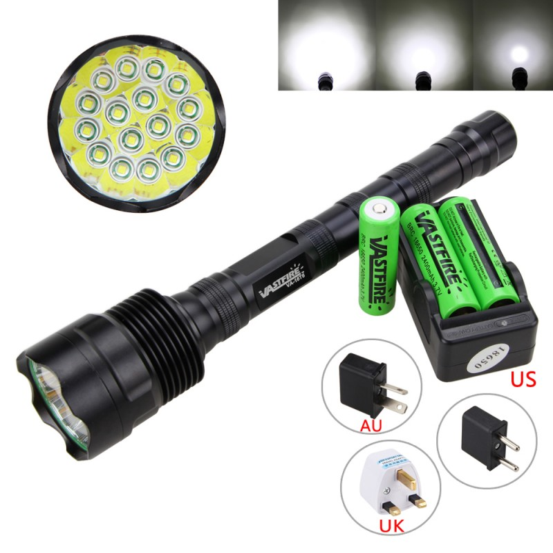 60000LM 16x XML T6 LED Flashlight 5Modes 18650 Tactical Camping Torch Lamp Light+18650 Battery+Charger high lumen led flashlight 4 2v cree xml t6 2 18650 battery 5 modes focalize flash lamp 2 18650 batteries battery charger