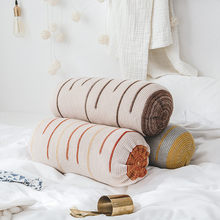 Home decor creative cylindrical waist cushion for sofa car chair bed decor stripe 56*20cm cotton multifunction length nap pilow(China)