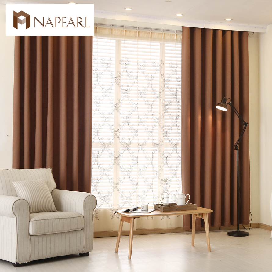 Modern curtain plain solid color blackout full shade living room ...