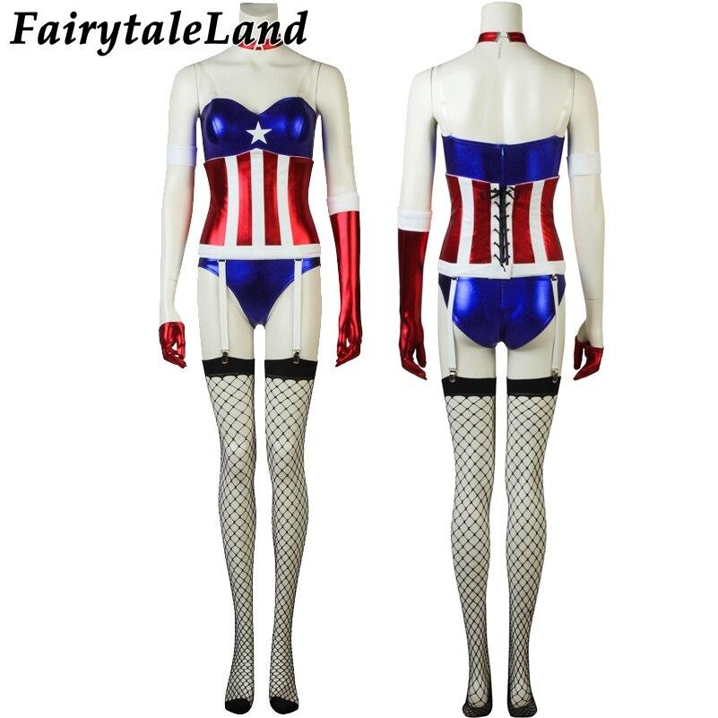Sexy Female Captain America Jumpsuit Fancy Halloween Costumes Superhero Captain America Star Cosplay sexy Jumpsuit