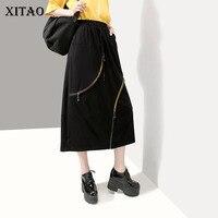 XITAO High Waist Pleated Skirt Women Clothes 2019 Pocket A Line Wild Joker Goddess Fan Elastic Waist Casual Summer WLD1280
