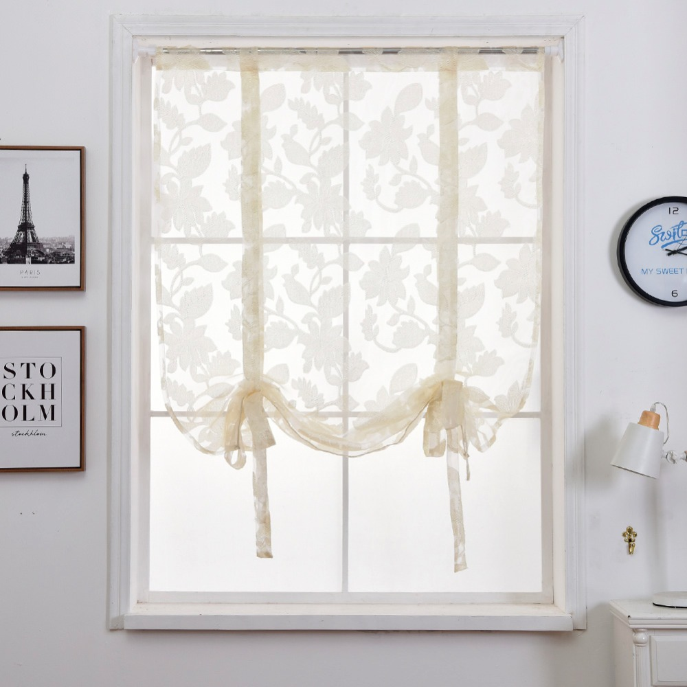 Short curtains modern kitchen sheer curtain valance rod pocket tie ...