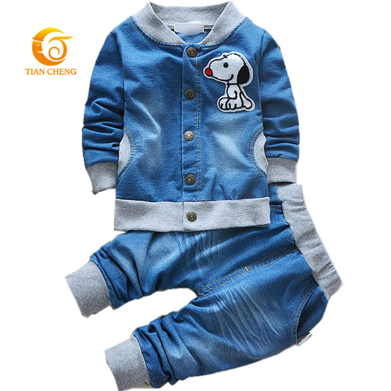 2015 New Fashion Baby Boys Clothing Set Spring/Autumn Children Cotton Clothes Set Kids Boys Cowboy Coats +Jeans 2pcs Suit 2015 new arrive super league christmas outfit pajamas for boys kids children suit st 004