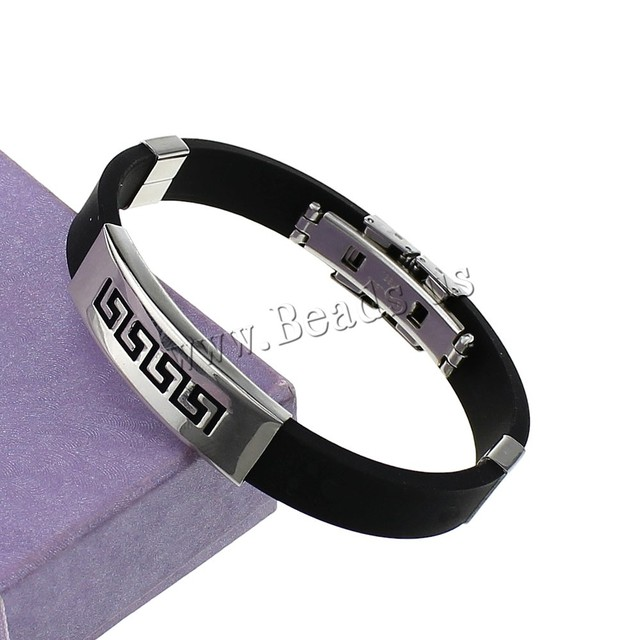 Black Silicone Stainless Steel Bracelet Men Women Silver Color Hollow Cuff Bangles  Rubber Hand Wristband Pulseira
