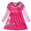 Vestidos de cumpleaños para niñas bebés niños 2-6 años de moda rosa roja kids wear vestidos infantis de ropa larga manga