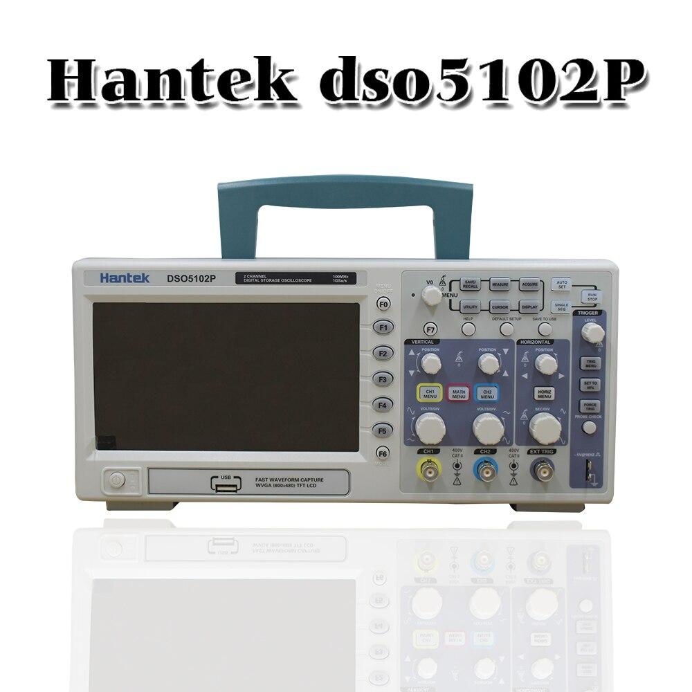 Hantek DSO5102P портативный цифровой осциллограф, 2 канала, 100 МГц, ЖК-дисплей, USB