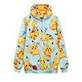 Harajuku 3D Print Bikachu Super Expression Pattern Hoodies Loose Long Sleeve Hoodies Casual Sweatshirt Unisex Pullover Outerwear