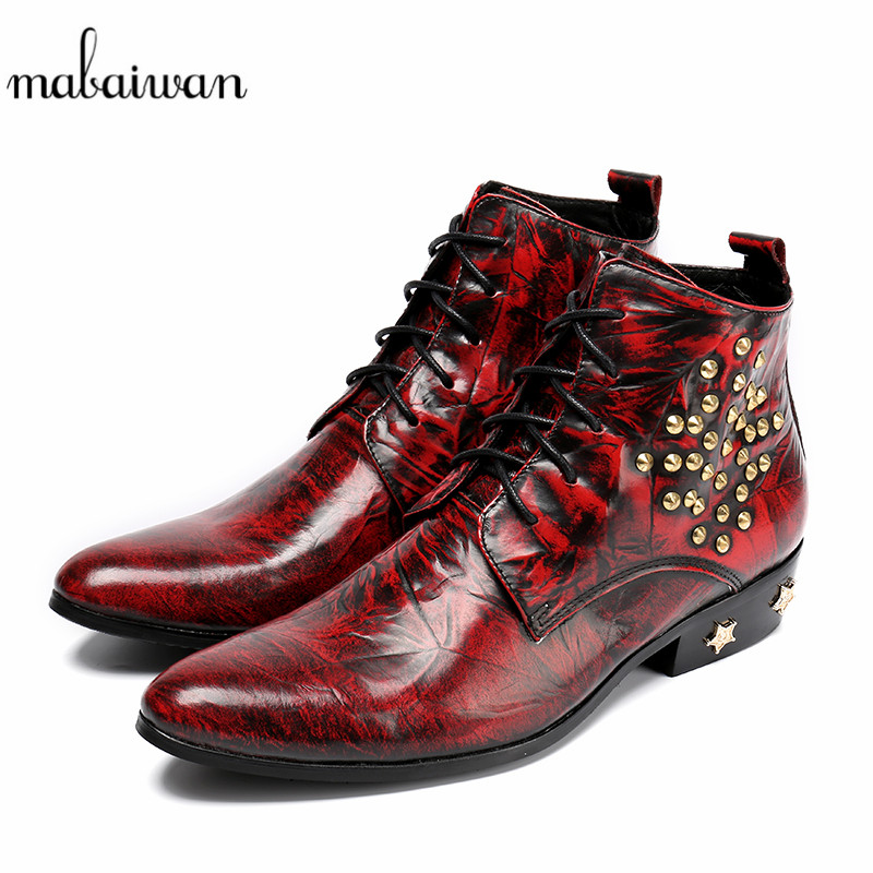 Mabaiwan 2017 High Quality Men Military Boots Mens Pointed Toe Rivet Lace Up Ankle Boots Wedding Dress Shoes Mans Footwear Flats mabaiwan handsome genuine leather men ankle boots metal pointed toe lace up mens oxford shoes cowboy boots high top botas hombre