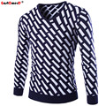 GustOmerD 2016 V-Neck Plaid Printing Slim Fit Knitting Sweater New Winter Fashion Brand Casual Mens Sweaters And Pullovers Men