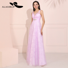 Alagirls Elegant A Line Tulle and Lace Prom Dresses 2019 V Neckline Beaded Evening Pink Formal Party Dress Kleid