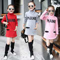 New Girls Sweatshirts Princess Plus Velvet Autumn Long Sleeve High Collar Thick Winter Children's Sweatshirts with Letter