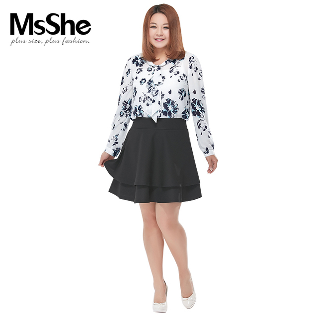 4f156468dd9b7 MSSHE Plus Size Women Shirt Fashion New Style Chiffon Blouse Full Sleeve  Shirt Chubby Girls Ladies top Clothing On Sale