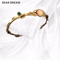 Jewelry & Accessories Fashion Vintage Metal Swallow Vine Pattern With Powdered Open Bracelet For Gift