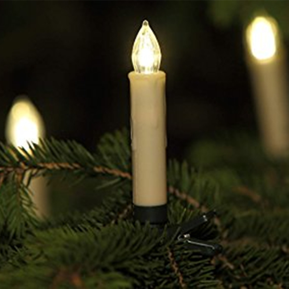 Christmas Tree Candles LED Mini 10cm Wireless Remote Flickering Candle Set with Batteries,Raindrop Shape,Beige/White Led Candles