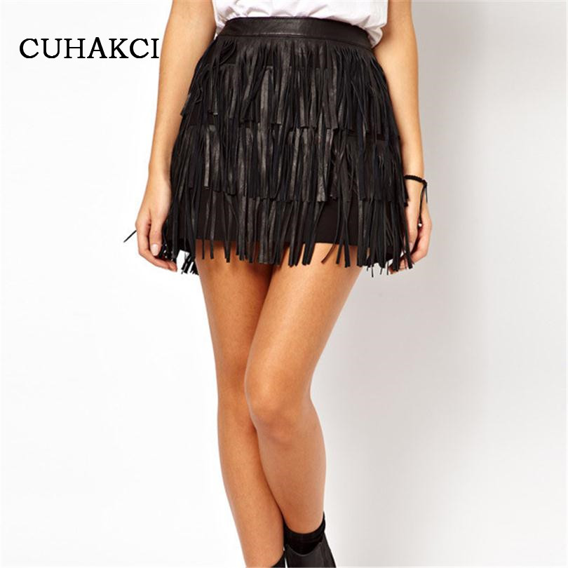 2017 New Summer Spring Women Fashion Pencil Skirts Slim Black Brown Fringe Hot Faux Leather PU CLOTHES Ladies Mini Skirt D013
