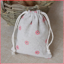 08a331e38c4 Pink Daisy Printed Linen Gift Drawstring Bag 8x10cm 9x12cm 10x15cm pack of  50 Makeup Jewelry Jute Packaging Pouch