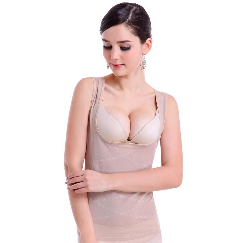 Sculpting Vest Women abdomen Body Corset Net Yarn Skinny Slimming Strimmer Cross Belly Fat Contro Body Shaper Femal Underwear (4)