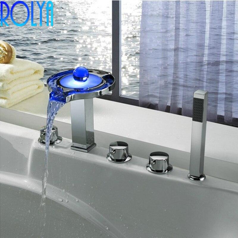 ROLYA Wholesale Premium Unique Luxurious Chrome Finish LED Bathtub Faucet 5 holes Bath Tub Shower Mixer Taps with Hand Shower
