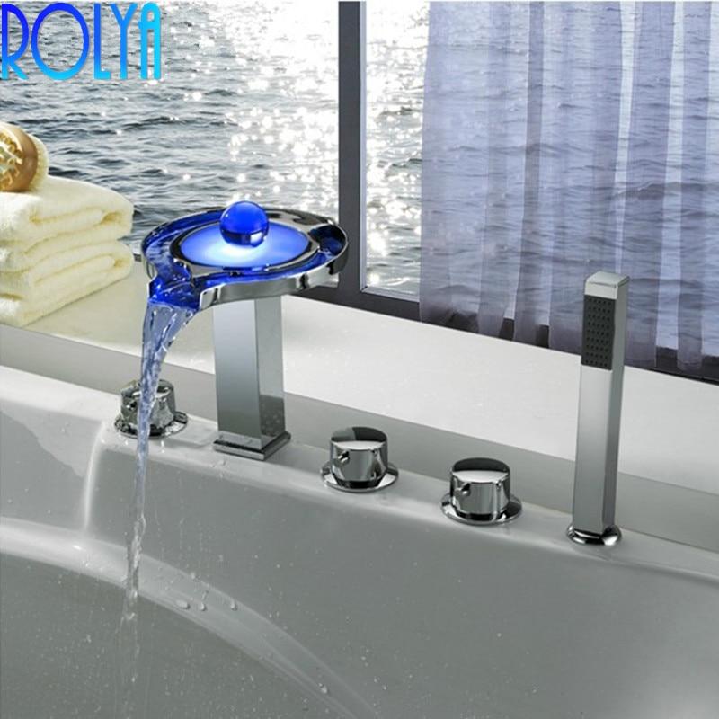 ROLYA en gros Premium Unique luxueux Chrome finition LED robinet de baignoire 5 trous baignoire douche mélangeur robinets avec douchette