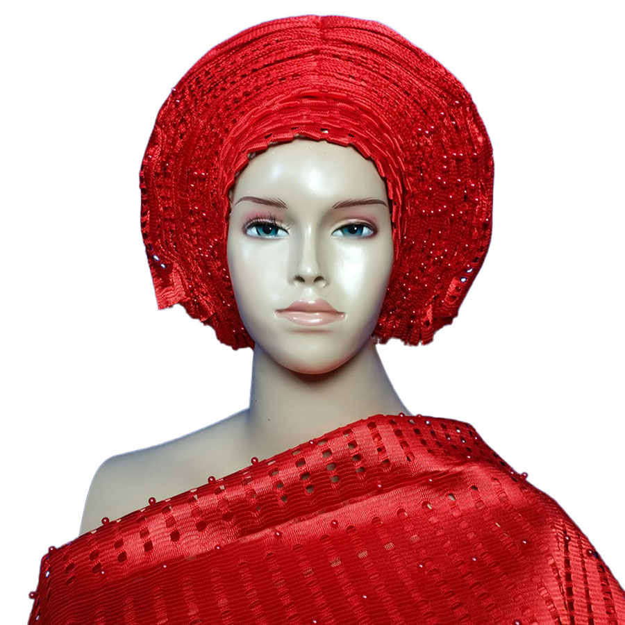New arrived auto gele aso oke headtie with beads and shoulder gele