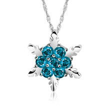 2018 Charm Vintage lady Blue Crystal Snowflake Zircon Flower Silver Necklaces & Pendants Jewelry for Women