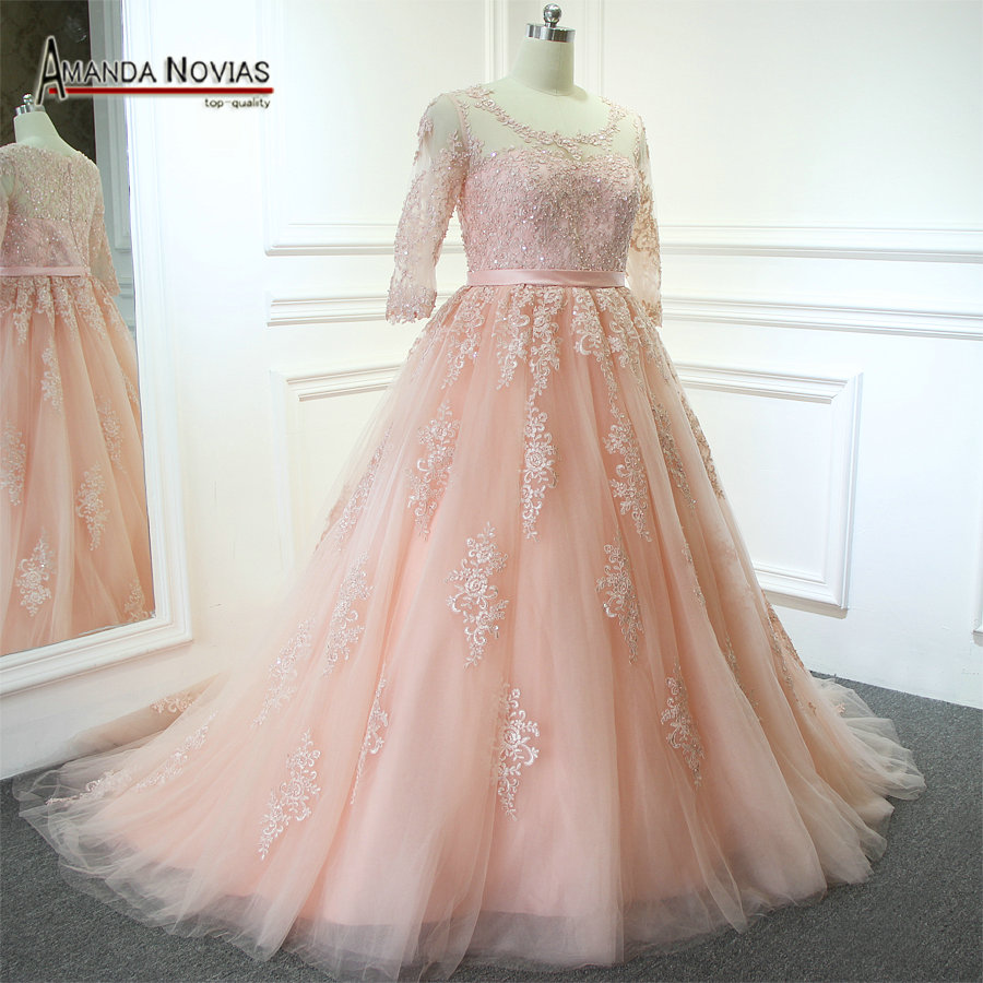 US $328.0 |2019 Plus Size Pink Wedding Dress With Half Sleeves Amanda  Novias Real Photos-in Wedding Dresses from Weddings & Events on AliExpress